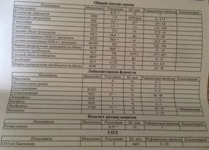 Пояснение результата анализа крови